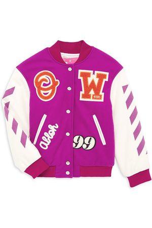 OFF-WHITE Girls Bomber Jackets - Little Girl's & Girl's Patch Varsity Bomber Jacket