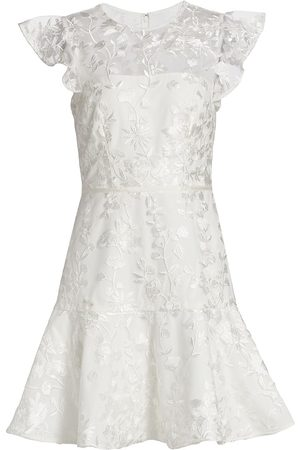 MONIQUE LHUILLIER Floral Embroidered Flounce Dress