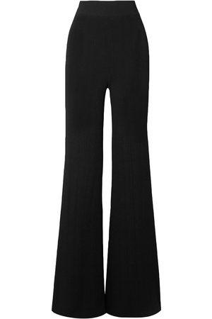 Balmain Women Wide Leg Pants - Woman Ribbed-knit Flared Pants Size 36