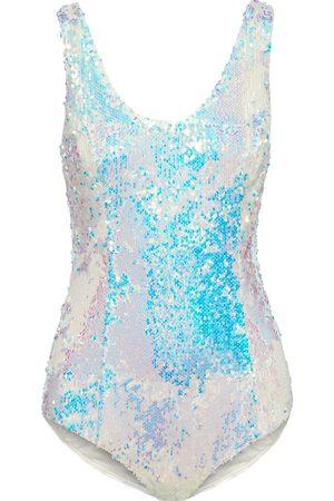 Balmain Women Bodies - Woman Iridescent Sequined Stretch-jersey Bodysuit Off- Size 34