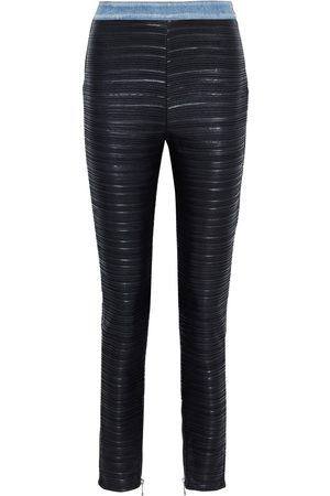 Balmain Woman Denim-trimmed Coated Plissé-jersey Skinny Pants Size 38