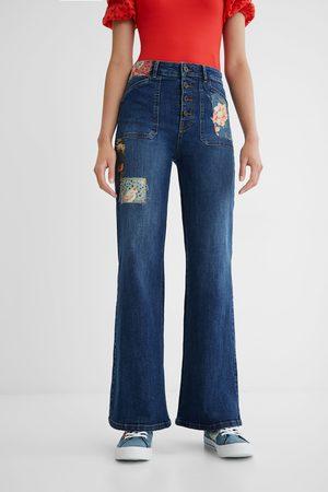 Desigual Women Wide Leg - Wide leg jeans patch