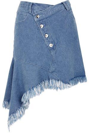 MARQUES'ALMEIDA Blue asymmetric denim mini skirt