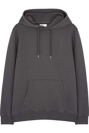 Colorful Standard Women Sweatshirts - Charcoal hooded cotton sweatshirt
