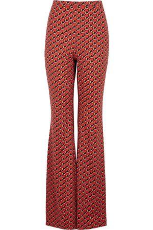 Diane von Furstenberg Women Jeans - Brooklyn printed silk-blend jersey trousers