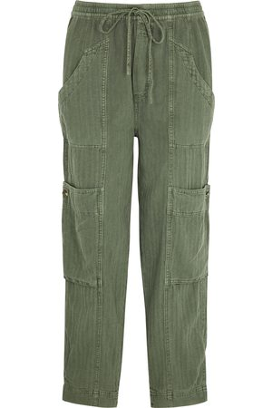 Free People Feeling Good army linen-blend trousers