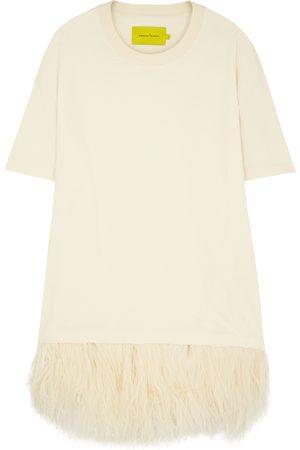 MARQUES'ALMEIDA Ecru feather-trimmed cotton T-shirt dress