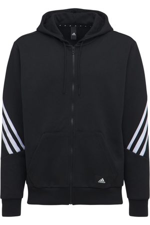 adidas 3 Stripes Hooded Cotton Blend Track Top