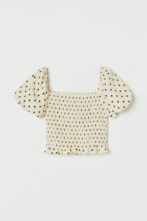 H&M Women Crop Tops - Puff-sleeved Crop Top