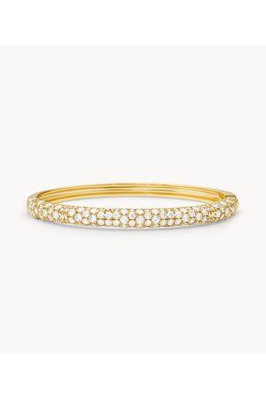 Womens Women Bracelets - Michael Kors Women's 14K -Plated Sterling Silver Pavé Logo Bangle Bracelet