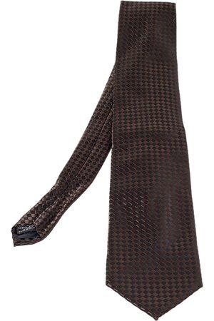 Lanvin Vintage & Black Checkered Silk Traditional Tie