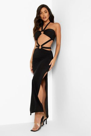 Boohoo Women Halterneck Dresses - Womens Neon Slinky Halterneck Cut Out Maxi Dress - - 4
