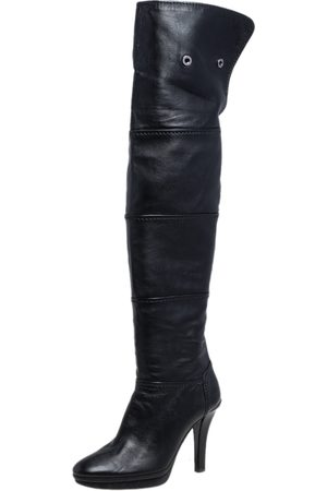 Tod's Women Thigh High Boots - Leather Platform Over The Knee Boots Size 39.5