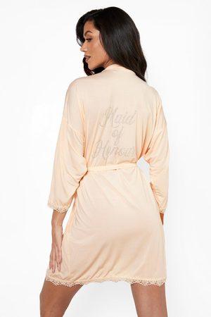 Boohoo Women Bathrobes - Womens Maid Of Honour Diamante Lace Detail Robe - - 2