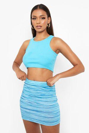 Boohoo Womens Space Dye Stripe Tube Print Mini Skirt - - 2