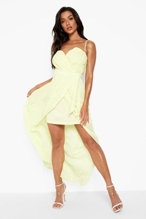Boohoo Women Strapless Dresses - Womens Bridesmaid Occasion Bandeau Pleated Maxi Dress - - 2