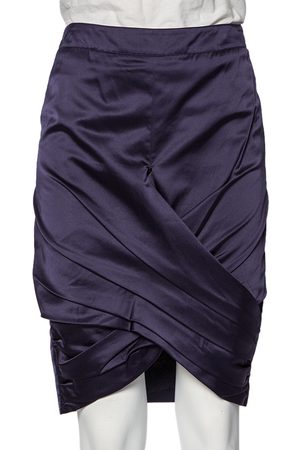 Burberry Women Pencil Skirts - Navy Satin Pleated Wrap Detail Pencil Skirt S