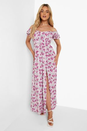 Boohoo Womens Floral Bardot Shirred Bust Split Maxi Dress - - 4