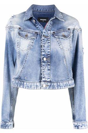 Dsquared2 Women Denim Jackets - Cropped acid-wash denim jacket