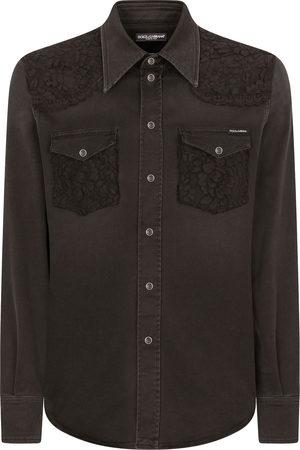 Dolce & Gabbana Men Denim - Denim lace-detail shirt