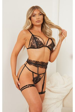 PRETTYLITTLETHING Floral Embroidered Lace Harness Detail 3 Piece Lingerie Set