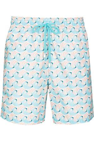 Vilebrequin Men Swim Shorts - Moorea shell-print swim shorts - Neutrals