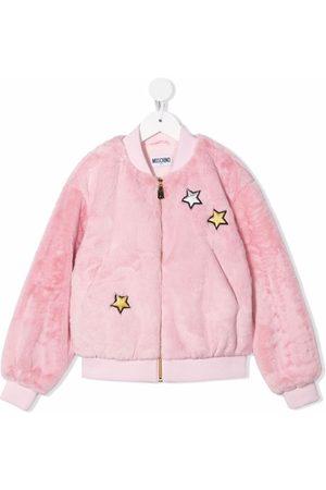 Moschino Teddy bear-motif faux-fur bomber jacket