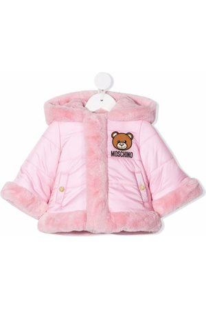 Moschino Puffer Jackets - Faux-fur effect logo coat