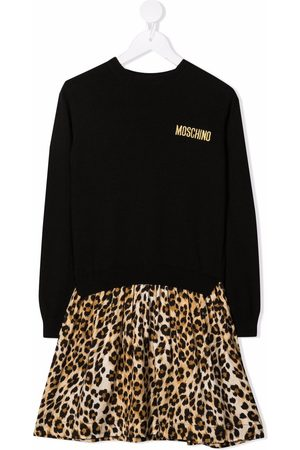 Moschino Girls Printed Dresses - Leopard-print contrast dress - Neutrals