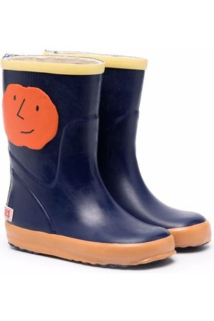 Bobo Choses Boys Rain Boots - Orange Faces appliqué rain boots
