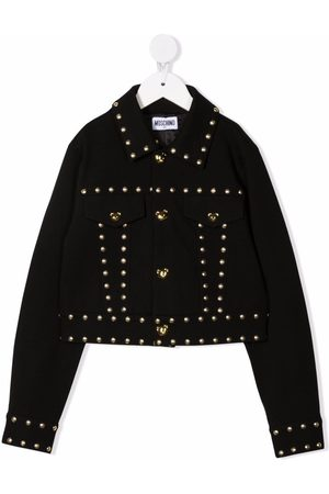 Moschino Girls Fleece Jackets - Teddy bear-motif studded jacket