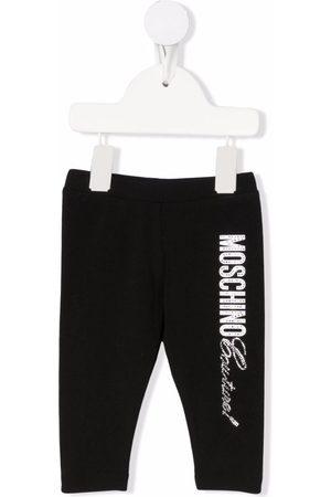 Moschino Baby Leggings - Crystal-embellished logo leggings