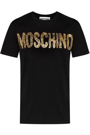 Moschino Men T-shirts - Paint-effect metallic logo T-shirt