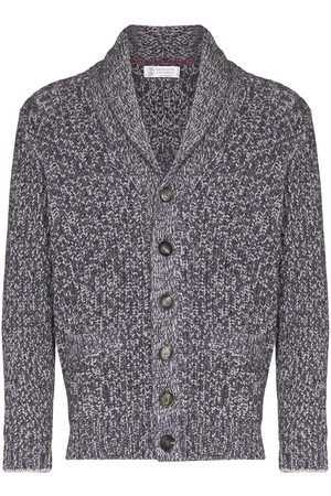 Brunello Cucinelli Men Cardigans - Shawl-collar button-up cardigan