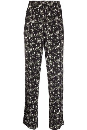 GANNI Floral-print straight trousers