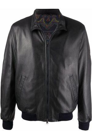 Etro Men Leather Jackets - Funnel neck leather jacket