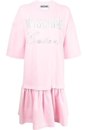 Moschino Women Printed Dresses - Layered logo-print T-shirt dress