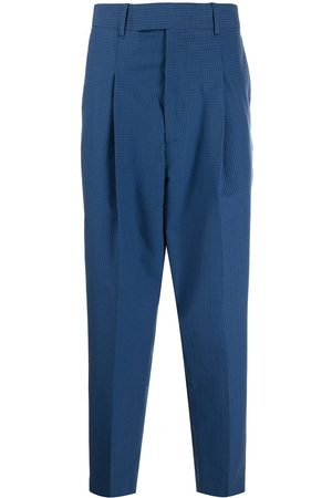 Paul Smith Men Formal Pants - Grid-pattern pressed-crease tailored trousers