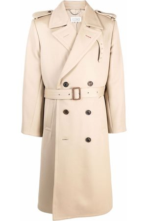 Maison Margiela Men Trench Coats - Double-breasted wool trench coat - Neutrals