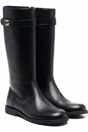 Dolce & Gabbana Girls Thigh High Boots - Leather knee-high riding boots
