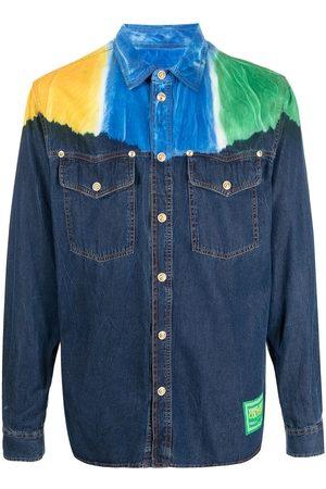 VERSACE Men Long sleeves - Contrast-panel long-sleeve shirt