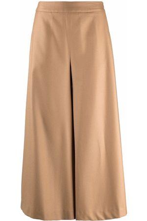 PT01 Women Culottes - High-waist wool-blend culottes - Neutrals