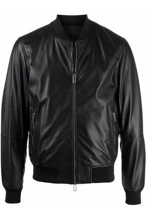 Emporio Armani Logo zipped biker jacket