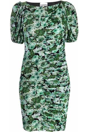 Ganni Women Party Dresses - Floral mesh ruched mini dress