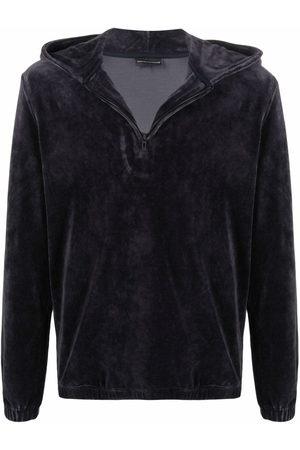 Emporio Armani Men Hoodies - Velour half-zip hoodie