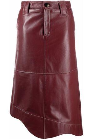 Ganni Asymmetric faux-leather skirt
