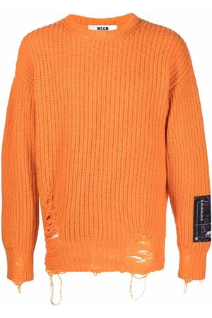 MSGM Men Sweatshirts - Ripped-detailed merino jumper