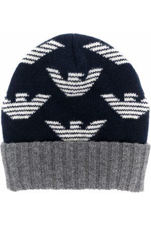 Emporio Armani Beanies - Logo-print wool beanie