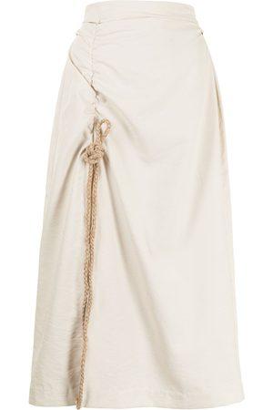 RACHEL GILBERT Asymmetric-ruched slitted skirt - Neutrals