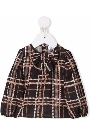 Elisabetta Franchi La Mia Bambina Checked pussy-bow blouse